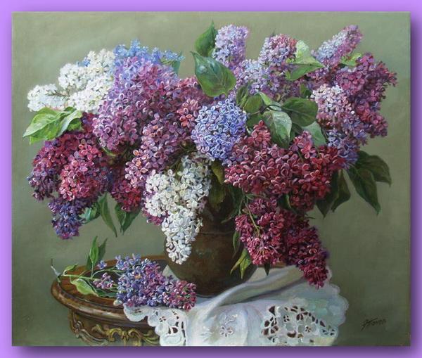 Эдуард Панов / природа, цветы, весна, сирень, живопись, художники, букет, из сети.
