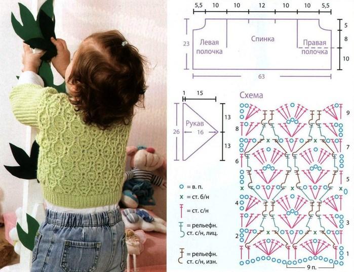 Вязание на девочку 4 лет кофточки крючком 201