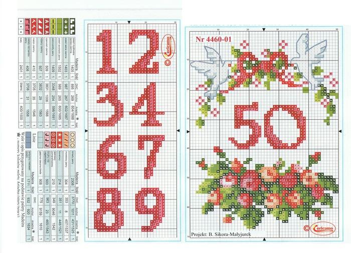 Схема вышивки чисел крестиком 59