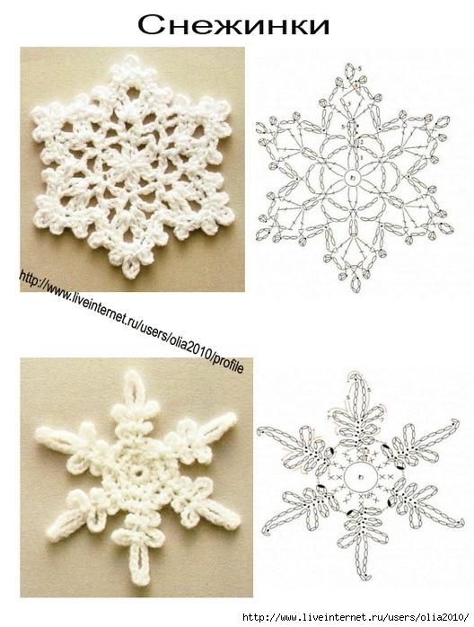 Как сделать связанную снежинку