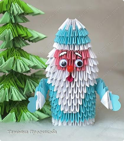 оригами снеговик схема.