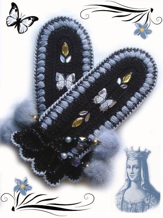 вязание спицами рукавички.