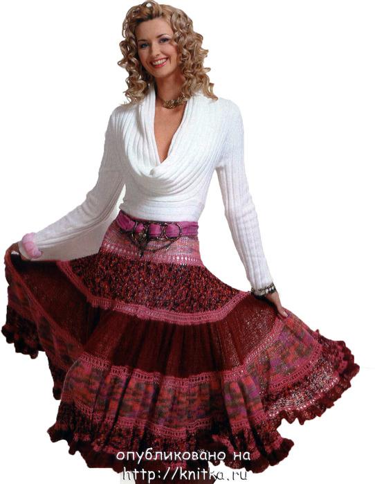 Многоярусная юбка, сязанная спицами.