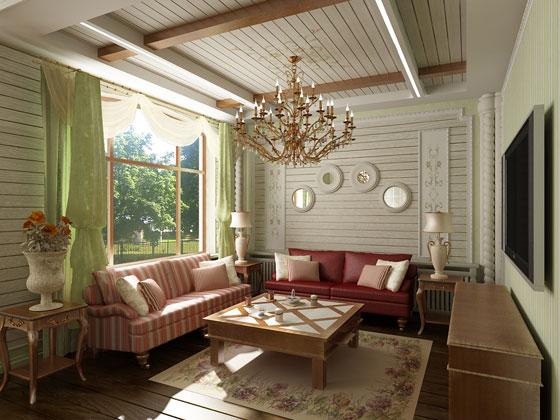Стиль прованс органично впишется в интерьер загородного дома.  Обязателен камин с деревянным или каменным фасадом...