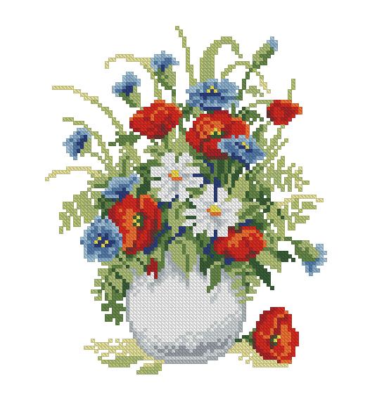 Вышивка цветов и букетов крестиком 215