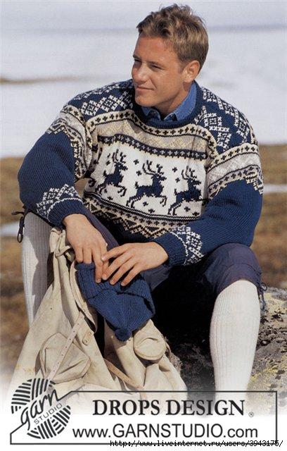 схема вязания мужского свитера с норвежским узором.