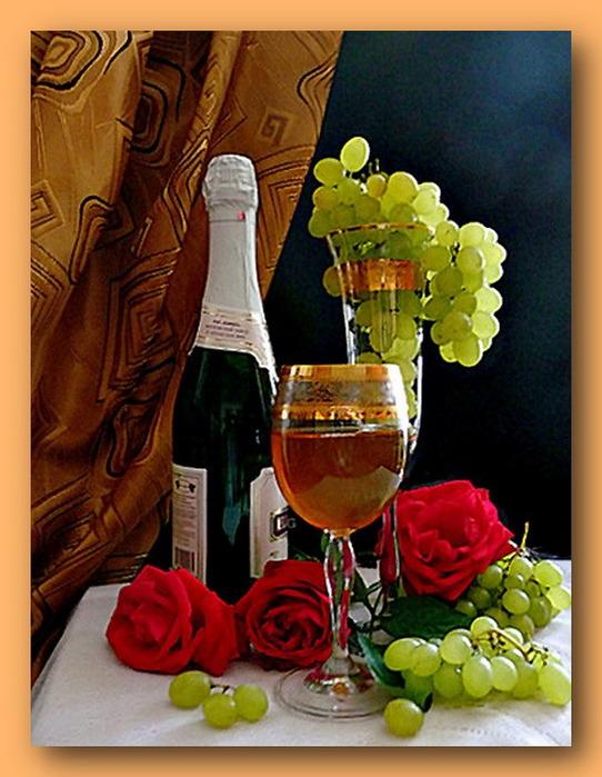 Открытки с шампанским с тортом 82