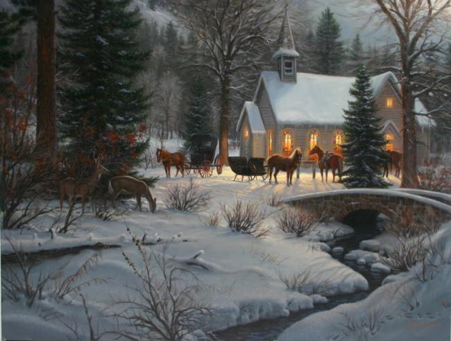 Скачать обои Новый год, Рождество, рождественская ночь, Mark Keathley 800x600.