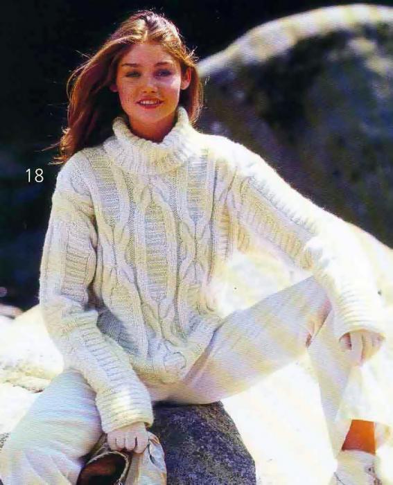 вязание спицами пуловер с рельефными узорами.