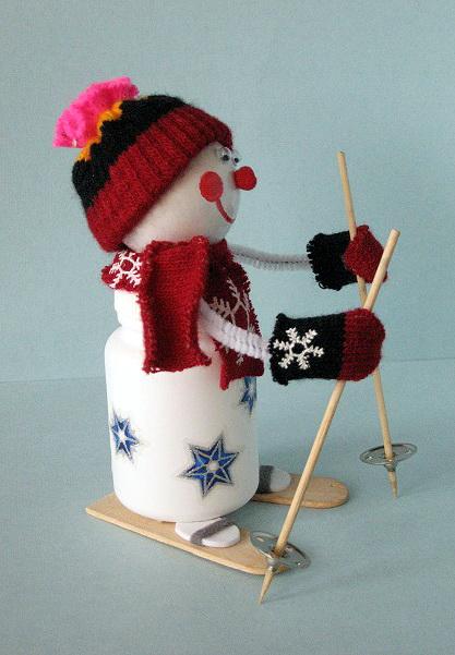 Снеговик своими руками на лыжах