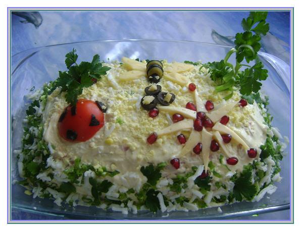 рецепт салата с ветчиной грибами огурцами