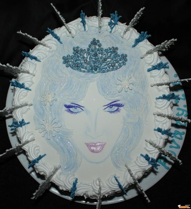 Торт снежная королева внутри бисквит