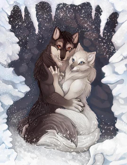 """Схема вышивки  """"пара людей-волков """" ."""