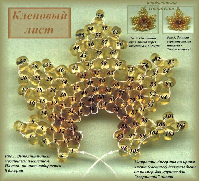 схемы плетения листиков.