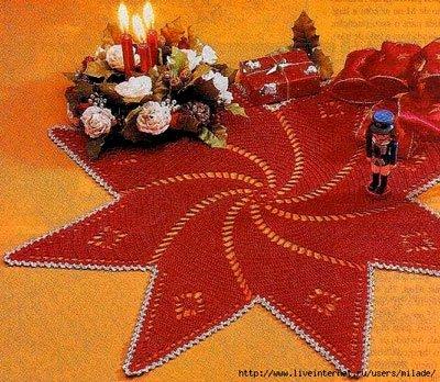 """Новогодняя салфетка  """"Звезда """"вяжется просто и быстро.  Далее схема вязания крючком."""