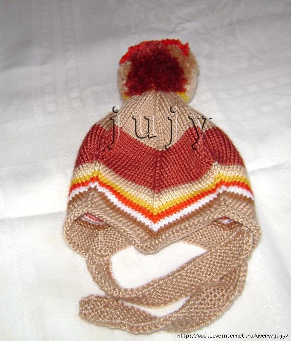 Спортивная шапка связанная спицей