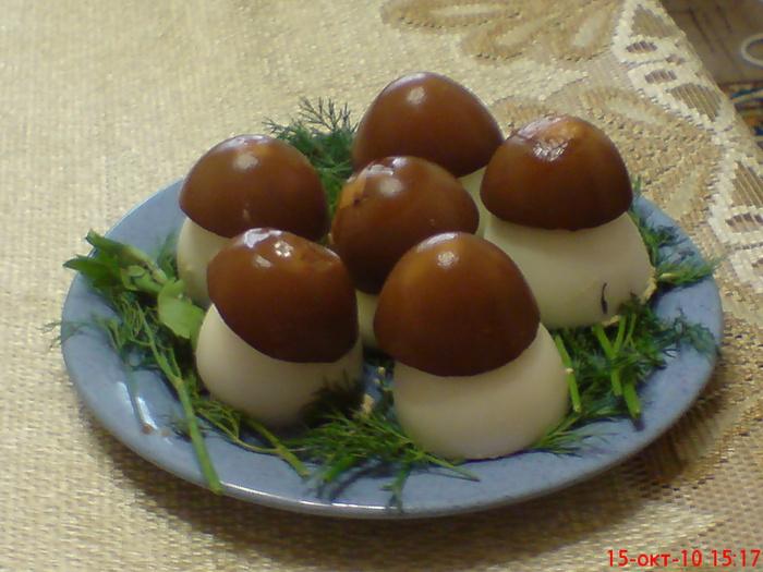 Яйца грибочки с печенью трески рецепт