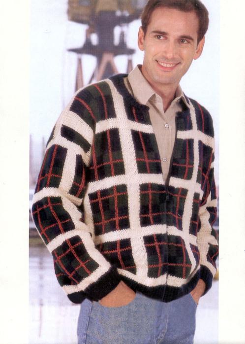 Вязание для мужчин.  Мужской жакет на молнии с шотландским мотивом.