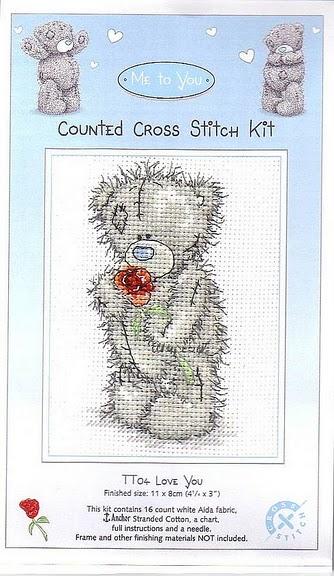 СХЕМА.  Вышивка.  Мишка Тедди с розой.