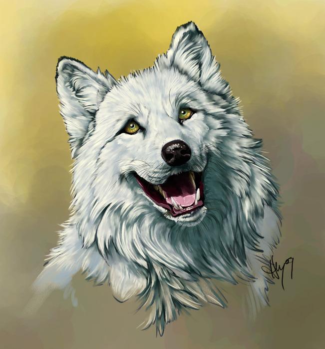 тех, с открытой пастью белый волк арт Рыко