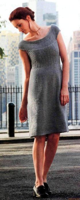 зимние платья спицами.