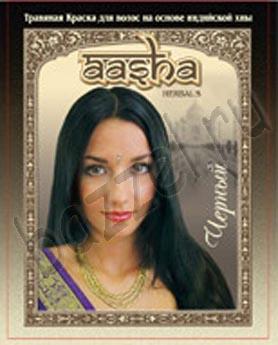 Травяная краска для волос на основе индийской хны AASHA Herbals ЧЕРНАЯ.