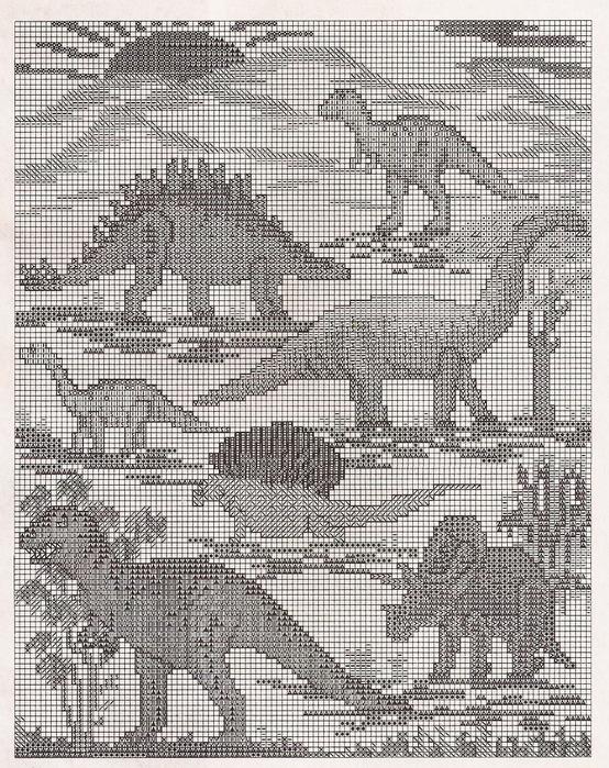 Схема вышивки динозавров.
