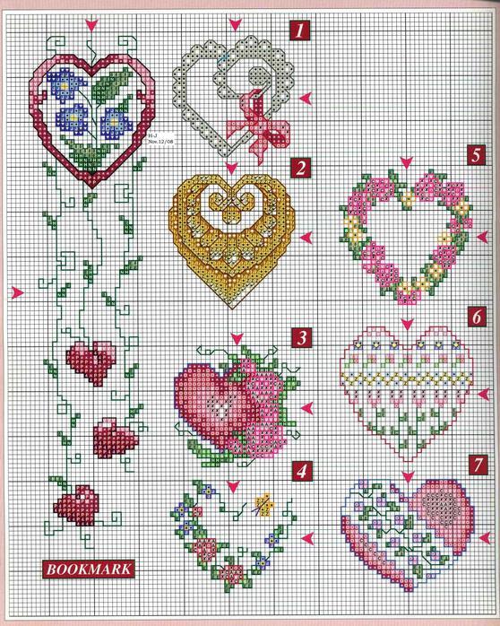 Схемы для вышивки сердечек.