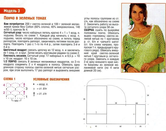 Схема вязания пончо крючком с описанием 52