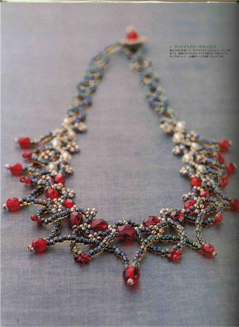 """Нарядное ожерелье  """"Гранат """" Схема его плетения: Заколка Вам потребуется: бисер белого, алого, бледно-голубого..."""