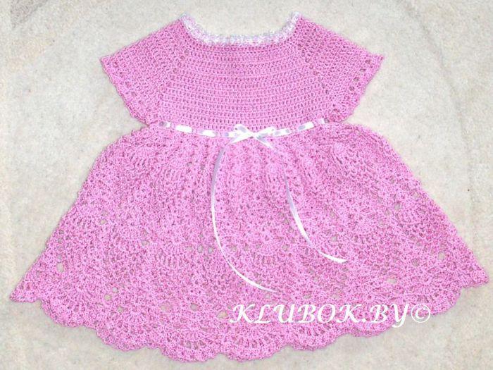 Детское платье, связанное крючком для девочки на 1-1,5 года, рост 98-104 см.