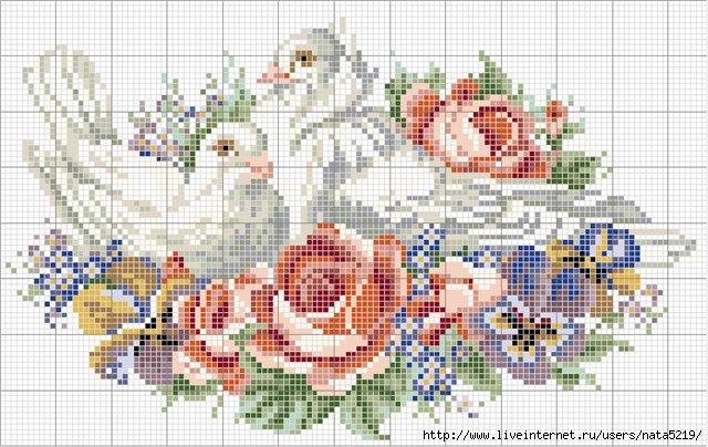 """Схема вышивки  """"Голубки """": таблица цветов."""