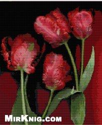 """Схема для вышивки  """"Четыре тюльпана """" ."""