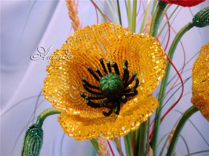 цветок из бисера мак своими руками мастер-класс.