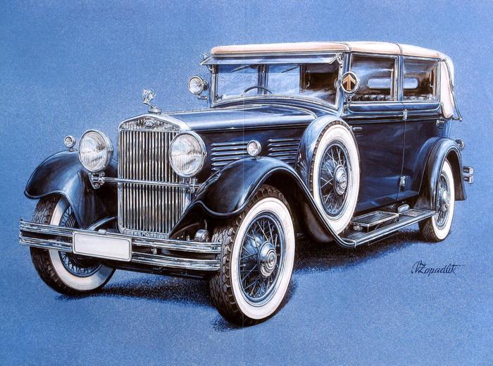 Ретро автомобили в рисунках, interesnoe.