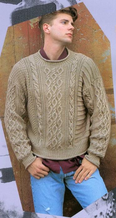 Вязание мужского свитера с аранами спицами 678