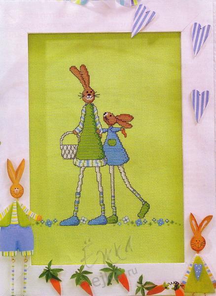 Очаровательные зайцы - совсем несложная красивая вышивка крестиком.  Вышивание крестом, вышивка лентами - схемы...
