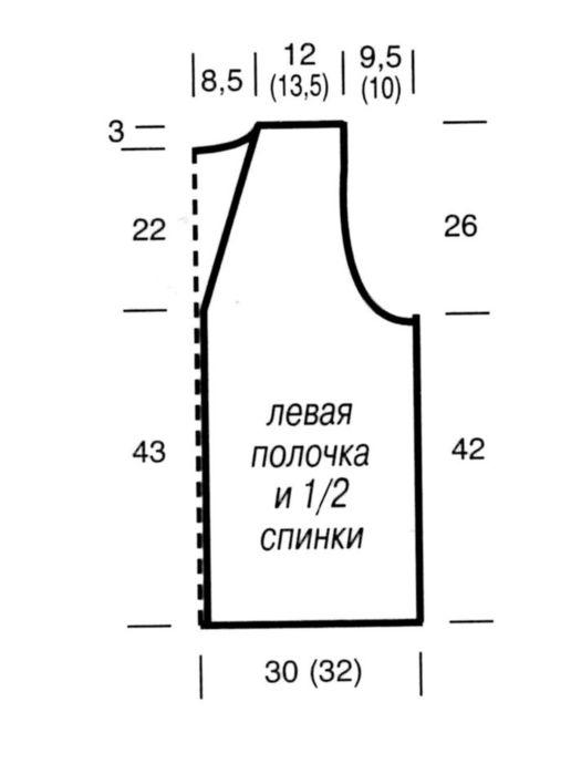 Построить выкройку для вязания жилета 78