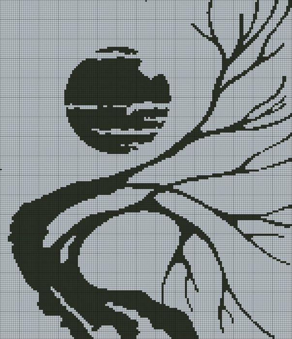 вышивка крестом черно белые картины