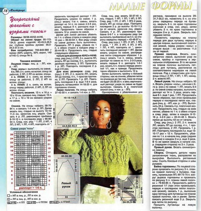 Схема вязания короткого женского свитера
