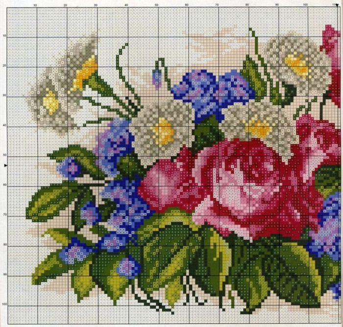 схемы вышивки цветов крестом розы