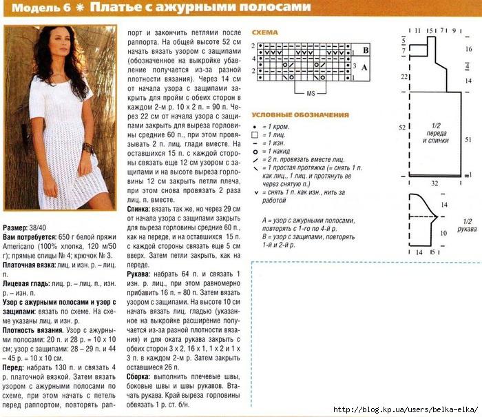 Образцы вязания на спицах платье