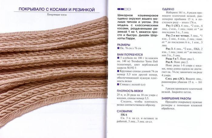 Плед шерстяной спицами схема