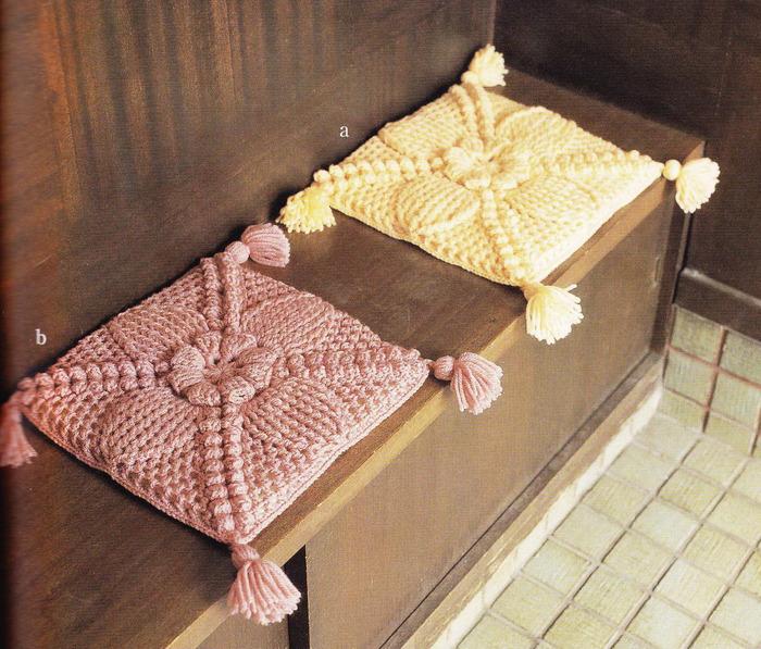 Вязанные накидки на стулья