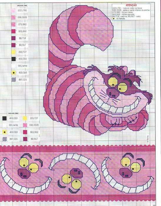 Схемы вышивок чеширского кота