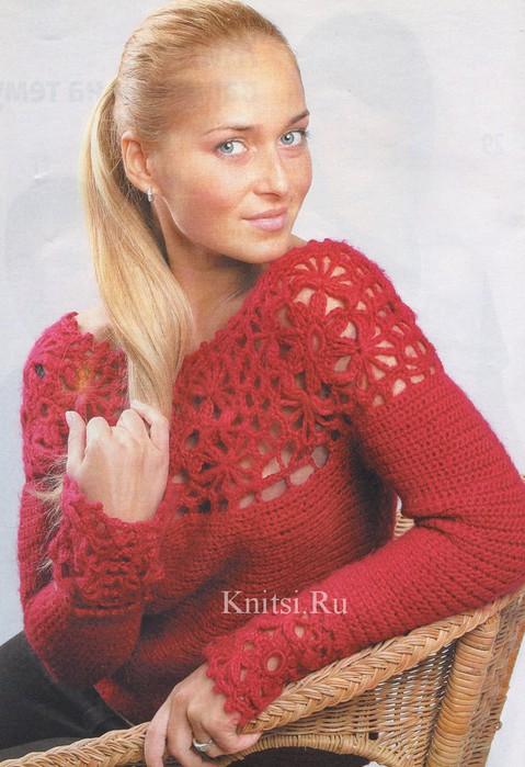 Красный свитер крючком с ажурной кокеткой.