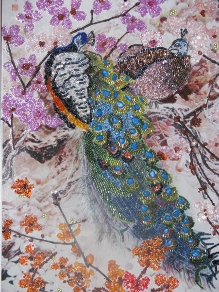 Картина сделана из бисера,камней самоцветов,каменной крошки,ракушки... нра.