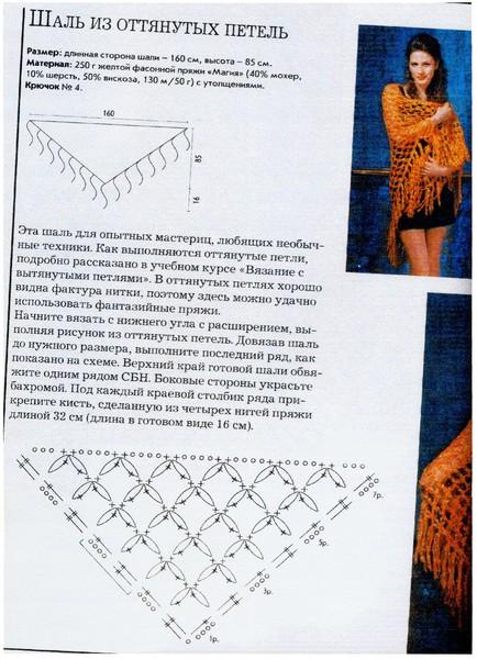 Вязание крючком шали из соломоновых петель 91