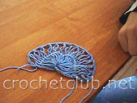 Узор крючком цветные ракушки