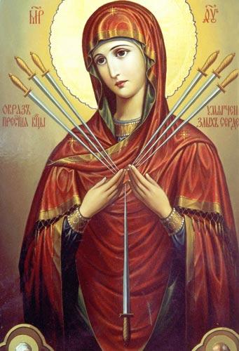 """Икона Божьей матери  """" Умягчение злых сердец """" -Семистрельная-прославилась во время эпидемии холеры."""